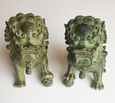 Couple de lions en métal (fu dogs, shishi)