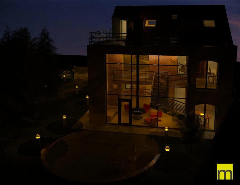 Conception feng shui - Vue du jardin est de nuit